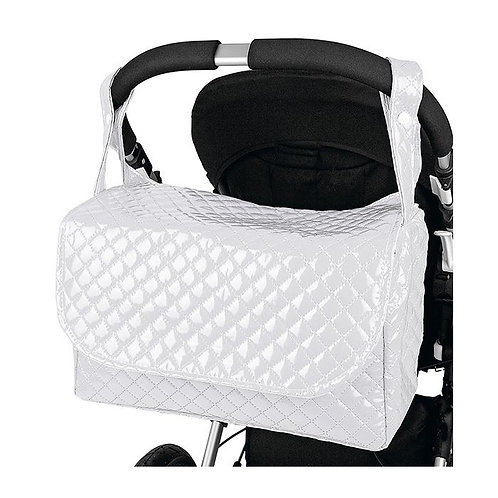 White Quilted Patent Changing Bag