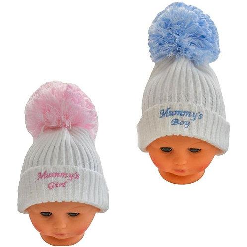 Mummy's Girl/Boy Cable Knit Pom Hats