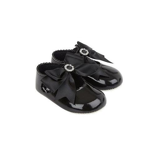 Black Diamante Bow Pram Shoes