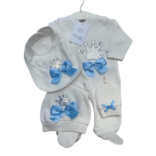 Ivory/Blue Crown Gift Set