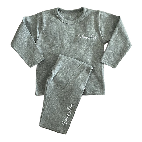 Personalised Plain Grey Pyjamas