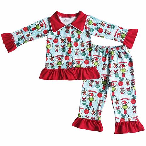 Girls Christmas Grinch Pyjamas (Style 2)