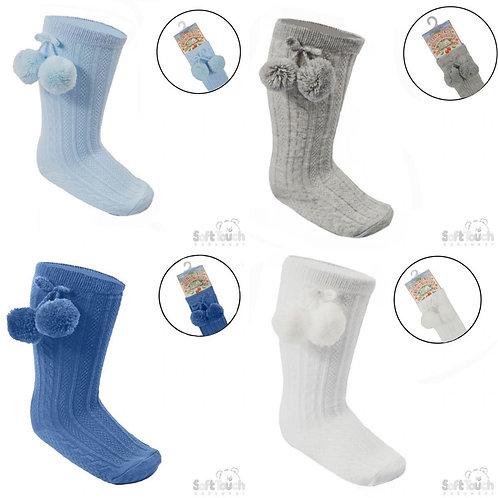 Knee Length 'Elegance' Pom Pom Socks