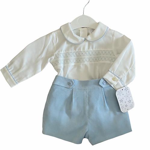 Blue Shorts & Smocked Shirt
