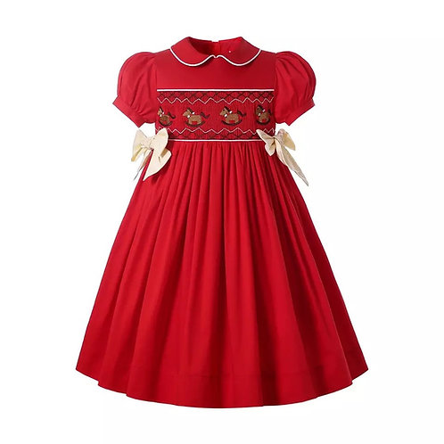 Red Embroidered Rocking Horse Smock Dress