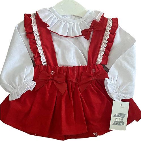 Red Corduroy Skirt Set
