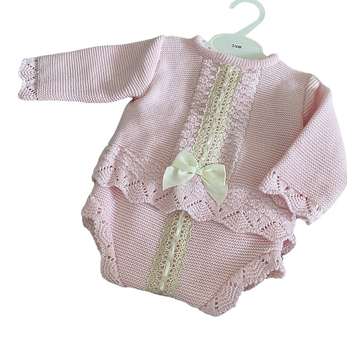 Pink Fancy Lace Jumper & Pant Set