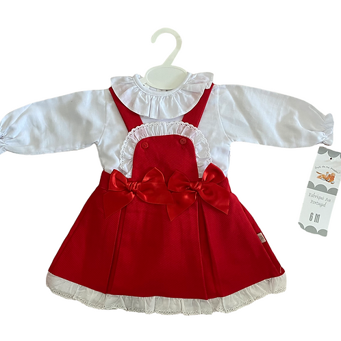 Red Pinafore Double Bow Dress