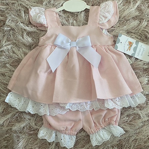 Pink Broderie Anglaise Frill Dress & Bloomers