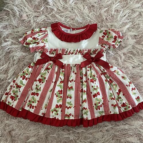 Red Strawberry Pattern Puffball Dress & Pants