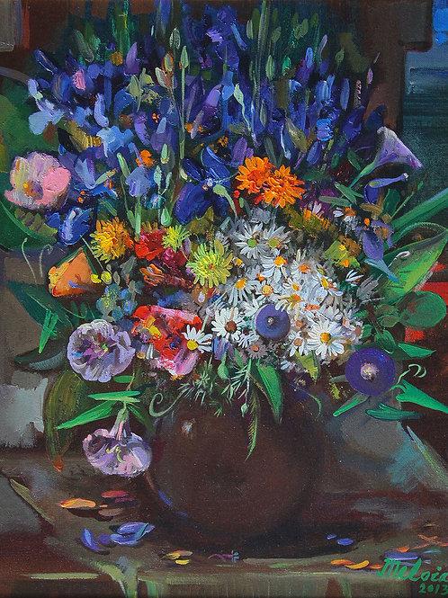 Полевые цветы с ирисами