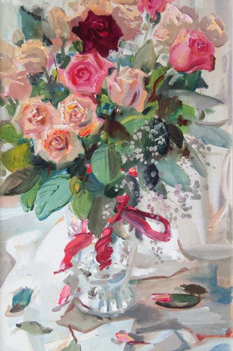 Розы на белом