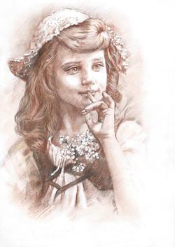 Детский портрет карандашами
