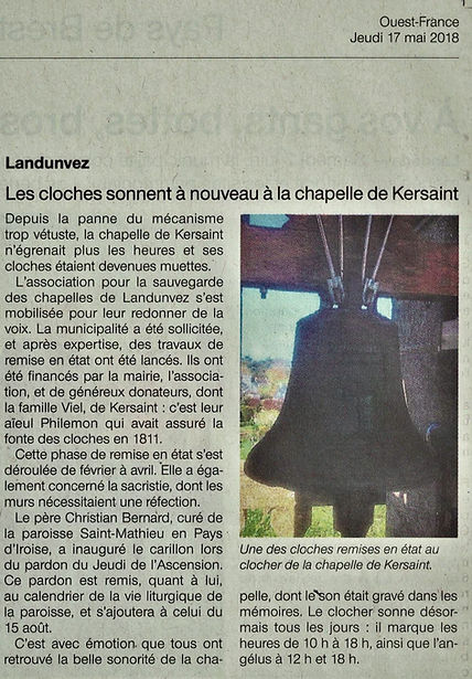 article Ouest-France cloches de Kersaint
