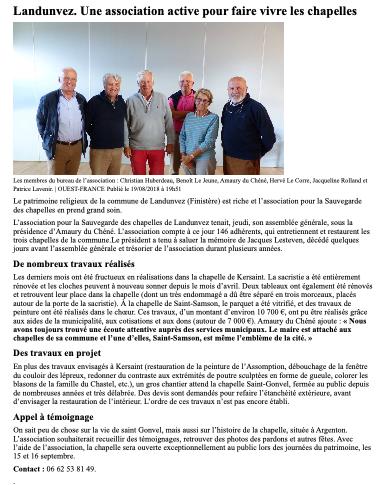 Ouest-France 20 aout 18