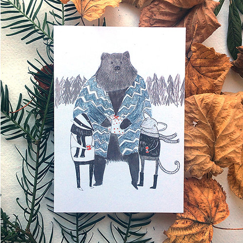 Bear and Friends Winter Greetings Cards
