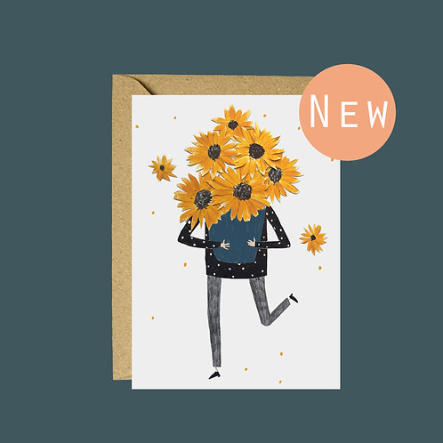Sunflower collage greetings card