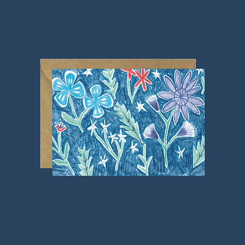 Coloured Pencil Floral Card