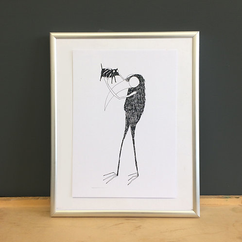 A5 Sized Crow / Bird character illustration folklore print