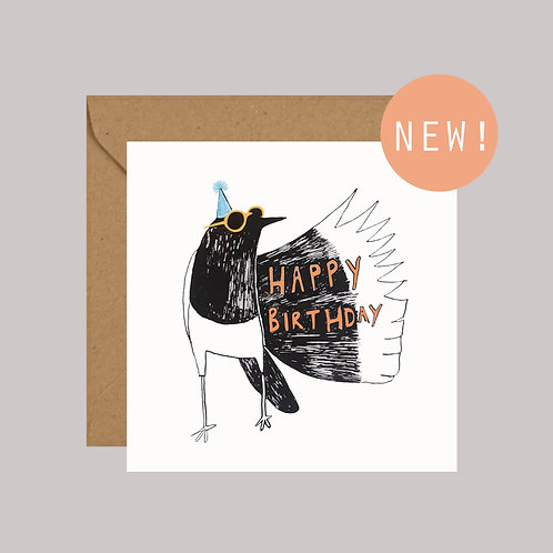 Magpie illustration birthday card
