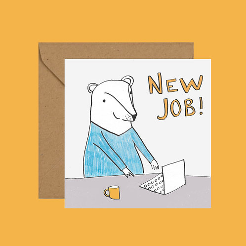 New job bear greetings card