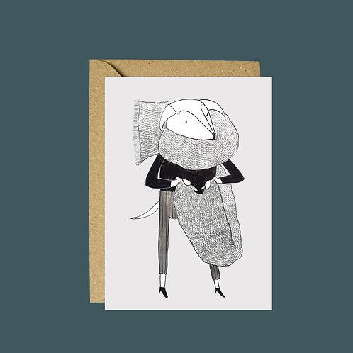 Knitting dog greetings card