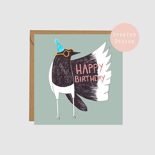 Magpie illustration birthday card