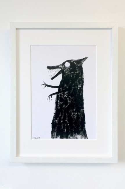 A4 sized wolf art print