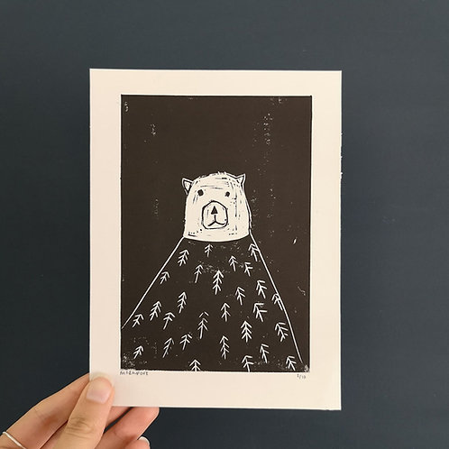 Hand printed bear illustration