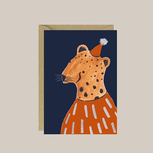 Leopard illustration birthday/ party card