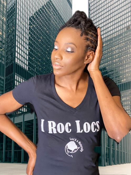 "Ladies  ""I ROC LOCS"" T-shirt  ( BLACK )"