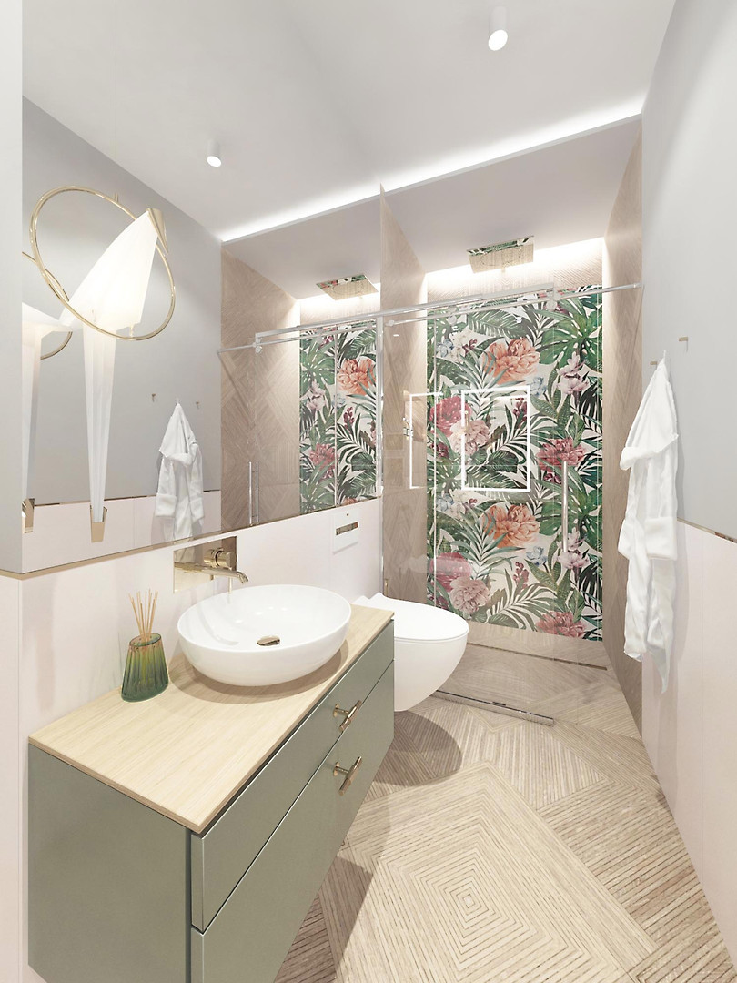 jungle bathroom green wood floral tiles