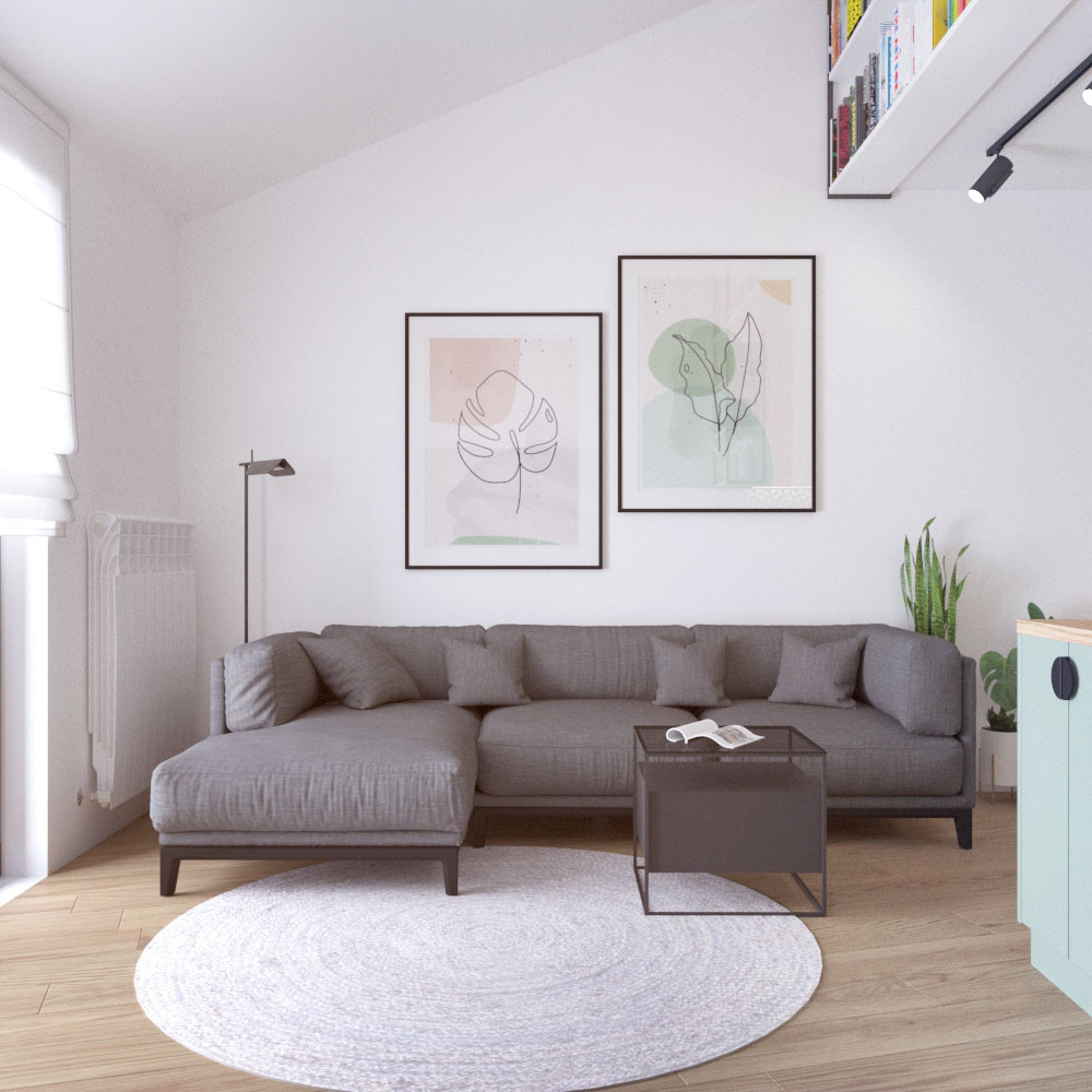 residential space living room grey sofa.