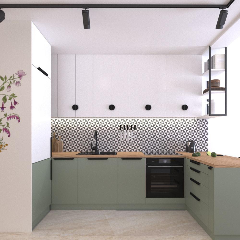 residential space kitchen green white fl