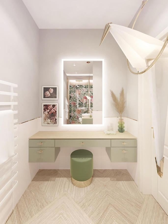 jungle bathroom green wood floral tiles