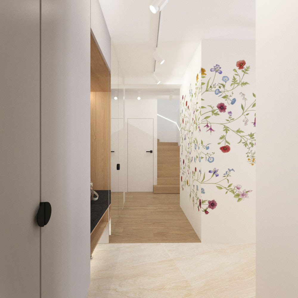 residential space bright hallway flowers