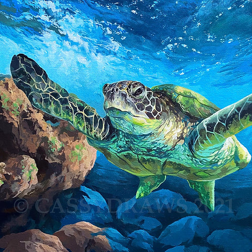 """Burt"" the Turtle - Acrylic Painting."