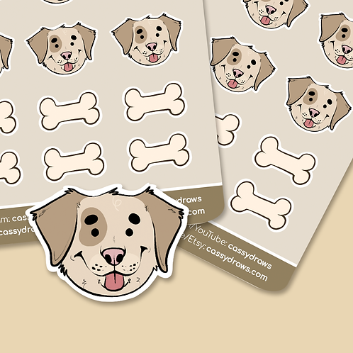 Dog & Bone - Sticker Sheet
