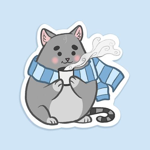 """""""Chonky Cat Cozy in Winter"""" - Sticker."""