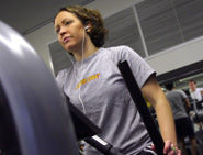 Woman exercising on a treadmill