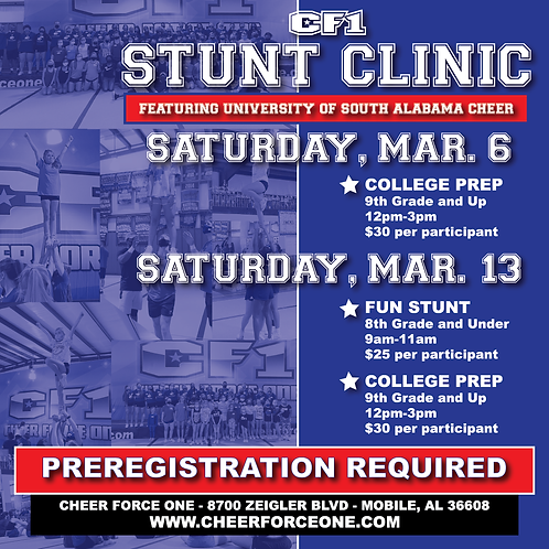 Stunt Clinic ft. South Alabama Cheer Registration Fee