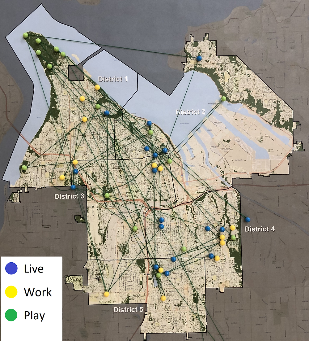 Attendees of the 2nd Community Meeting held on 10/22 were asked to place a blue pin where they live, a yellow pin where they work, and a green pin where they play