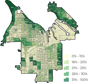 Urban tree canopy in Tacoma by U.S. Census block groups