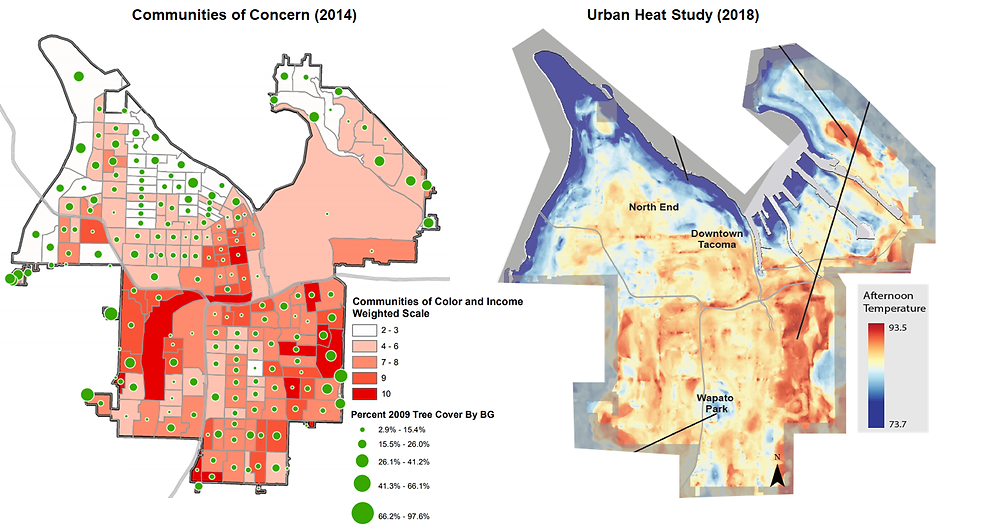The map on the left is symbolized to show the Communities of Concern on a weighted color scale and the 2009 tree canopy cover by Census Block Group. The image on the right shows the afternoon surface temperatures. This information will inform tree planting and maintenance strategies to ensure equitable distribution of services and benefits