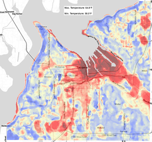 Heat island maps produced from morning traverses. See more at https://climatecope.research.pdx.edu/tacoma/uhi/