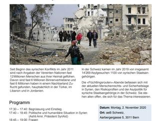 Länderabend Syrien der Schweizerischen Flüchtlingshilfe