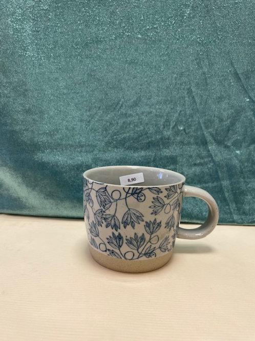 Tasse blaues Blumenmuster
