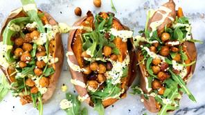 Sweet Potatoes with Chickpeas & Garlic Dill Aioli
