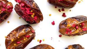 Dark Chocolate Almond Butter & Raspberry Stuffed Dates