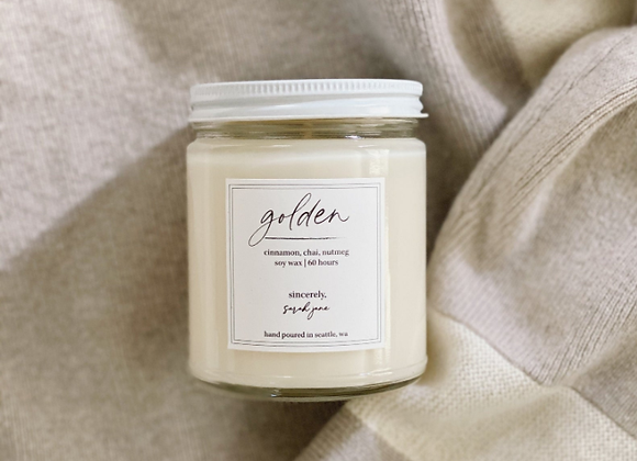 Golden (Cinnamon, Chai & Nutmeg) Scented Candle - by Sincerely Sarah